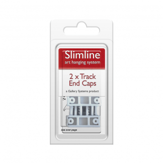 The Slimline Art Hanging System White Track End Caps - Pack Shot