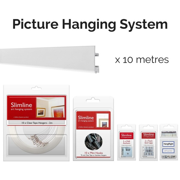 Picture Hanging Systems - 10 metres of white track, 10 clear tape droppers, 10 hooks, wall anchors, end caps and HangRight Clips